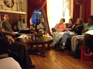 Quest members take turns hosting a Bible Study in their house each week.