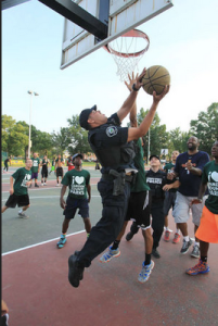 A whole team of police officers took on the kids for almost an hour.