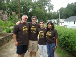 "Minus Melissa, the group wearing our custom t-shirts for the summer: ""OFM What can brown do for you?"""
