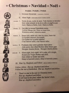 This is page one of the twelve page music program. It's quite a parish to say the least!