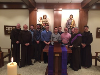 I was so impressed by these men, from left to right: Br. Basil, Fr. Frank, Ben, Todd, Crawford, Gilbert, Ken, Jim, Nick, and Deacon