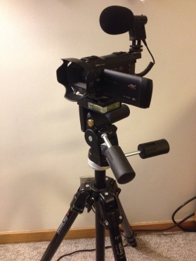 Camcorder, tripod, microphone, and DSLR (not pictured). All we need now is someone who knows how to use them!