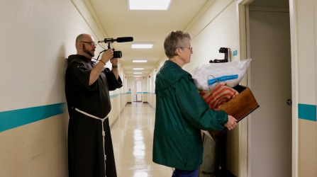 Br. Jay Woods, OFM, getting a closeup with the wide angle lens